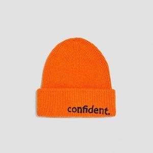 """Zara Accessories Bright Orange """"Confident"""" Beanie"""